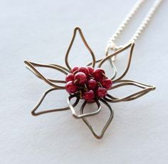 Cherry Red Flower and Antiqued Brass Wire Necklace, Bridal Gifts