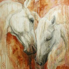 This is an acrylic painting on a canvas by Silvana Gabudean. The colors of the horses and the background give of the aura of warmth.
