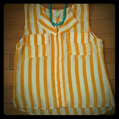 NWOT Stripe Sheer Top Orange and white stripes. Fabric is pretty sheer. 100% polyester,  very light. Timing Tops Blouses