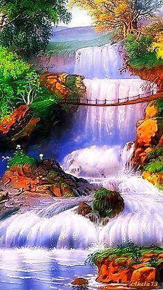 Colorful water falls