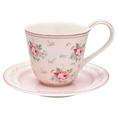 17c80989a88 GreenGate Stoneware Cup And Saucer Marley Pale Pink H 9 cm (x1) Blassrosa,