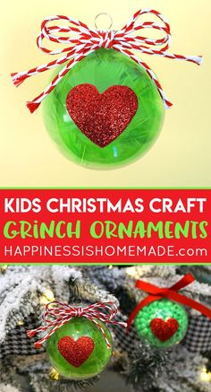 Christmas Kids Craft: Grinch Ornaments -These are super simple to make and are easy to customize using your favorite craft supplies! A quick and easy Christmas craft for kids! - Happiness is Homemade Grinch Christmas Decorations, Grinch Ornaments, Grinch Christmas Party, Easy Ornaments, Kids Christmas Ornaments, Christmas Crafts For Kids To Make, Homemade Christmas, Simple Christmas, Holiday Crafts