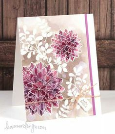 Penny Black: Dahlias, Paper Smooches Botanicals 2,  Cold Press Watercolor paper, SSS: Favorite Flowers, Tiny Tags dies