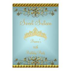 Sweet 16 16th Teal Blue Gold Diamond Tiara Custom Invites