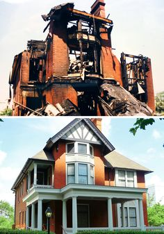 Then and now view of Atlanta's Margaret Mitchell House after burning in 1996. This is the historic house where Gone With the Wind was written.