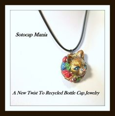 Pretty Blue Eyes, Polymer clay 3D Cat Face Bottle Cap Pendant,Necklace | SotocapMania - Jewelry on ArtFire