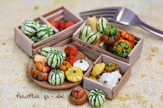 Miniature Winter / autumn squashes : Butternut, Delicata, Pâtisson, Hokkaido, Sweet Dumpling, TurksturbanPolymer clay Sculptures by Stephanie Kilgast - PetitPlat