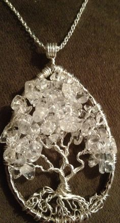 Clear Quartz Teardrop Tree of Life Hand Wire by Just4FunDesign, $30.00