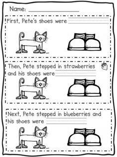 73 Cool Pete the Cat Freebies and Teaching Resources :: KindergartenWorks - First, Next, Then Sequencing