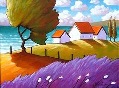 Giclee Art Print by Cathy Horvath Folk Windy by SoloWorkStudio sea Seaside Wind Print, Coastal Landscape Home Decor Wall Artwork, Summer Ocean Cottages Lavender & Trees, Folk Art Print by Cathy Horvath Artwork Prints, Fine Art Prints, Art Carte, Art Aquarelle, Coastal Art, Coastal Cottage, Arte Popular, Naive Art, Tree Art