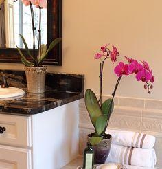 badezimmer-badezimmer-kerzen-blumentopf-hell-beige-nuancen-grün-rosa-blüten