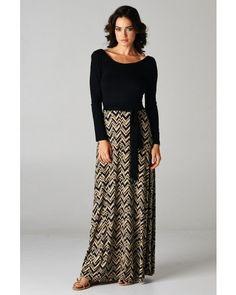 Contrast Long Sleeve Maxi Dress with Chevron Print