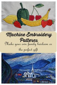 Machine embroidery patterns, to make your own family heirloom or the perfect gift for the crafter you love. Machine Embroidery Patterns can be whimsical or majestic. Beautiful pictures can be created with a machine pattern, thread and your machine.