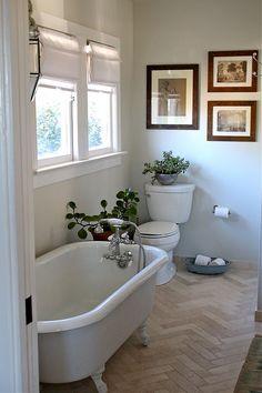 Herringbone tile floor.  Simple and just enough.