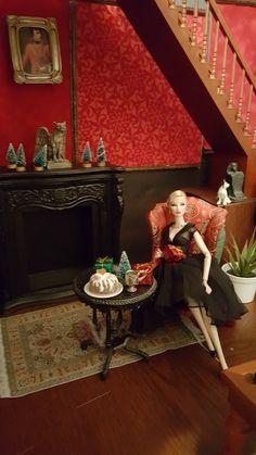 Eugenia by the fire on Christmas eve Christmas Barbie, Christmas Holidays, Merry Christmas, Gothic Mansion, Barbie Shop, King William, Miniatures, Pumpkin, Studios