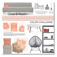 """Color Challenge: Gray & Peach"" by anitadz ❤ liked on Polyvore featuring interior, interiors, interior design, home, home decor, interior decorating, Gubi, Innit, HAY and Frontgate"