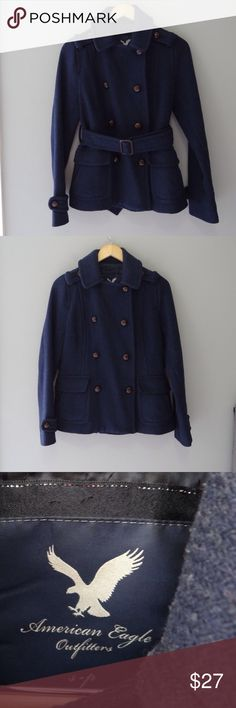 American eagle outfitters pea coat American Eagle small navy blue pea coat with belt. Dry cleaned. No tears or stains. Minimal pilling. American Eagle Outfitters Jackets & Coats