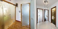 vlevo: Celoskleněné dveře Stylus dvoukřídlé s bočními světlíky a jednokřídlé, vše s motivem HELIX 54, vpravo: Celoskleněné dveře Stylus, jednokřídlé otočné, sklo Satinato bílé