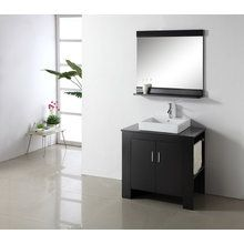 "View the Virtu USA MS-7036R 36"" Tavian Single Sink Bathroom Vanity Set - Includes Cabinet, Square Ceramic Vessel Sink, Faucet, Mirror, and Right-Side Shelves and Towel Bar at FaucetDirect.com."