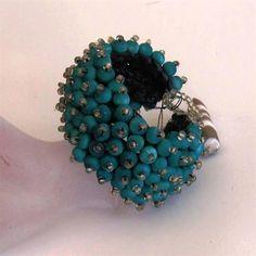 exotic bracelet, turquoise , wood and seed beads ZAR 395 CODE DBANE wood