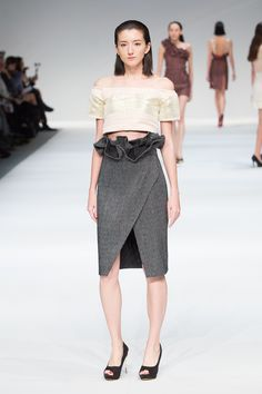 LOOK 4 designed by Belle Benyasarn, The EcoChic Design Award 2015/16 finalist – Up-cycled off-shoulder cropped top & tulip midi skirt made from industry surplus textiles #ECDA #BelleBenyasarn