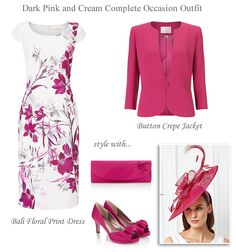 Jacques Vert pink and cream floral shift dress and matching jacket shoes hat and fascinator. Summer Mother of the Bride/Groom wedding outfits