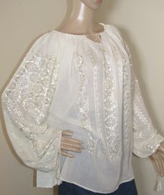 Ivory silk hand embroidered Romanian peasant blouse top . Ivory Silk, Peasant Blouse, Silk Thread, Ethnic, Bell Sleeve Top, Hands, Pure Products, Lace, Cotton