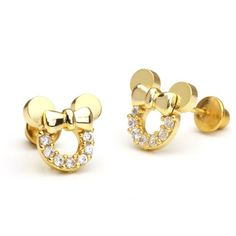 ON SALE AT http://jewelrydealsnow.com/?a=B00EOB0DHQ - 14k Gold Plated Brass Mouse Screwback Girls Earrings with Sterling Silver Post