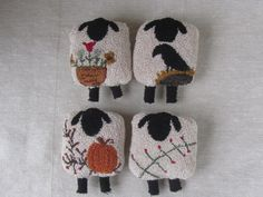 Primitive Punch Needle Paper Pattern ~ Four Seasons of Sheep ~ Needle Punch Pattern - Spring Sheep - Summer Sheep - Fall Sheep -Winter Sheep Sheep Rug, Weavers Cloth, Wooly Bully, Sheep Crafts, Punch Needle Patterns, Rug Hooking Patterns, Primitive Crafts, Wool Applique, Punch Art