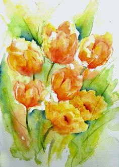 Sketching in Nature: The annual flower display and Sara Duke Gardens. Beautiful orange and yellow tulips. Watercolor.