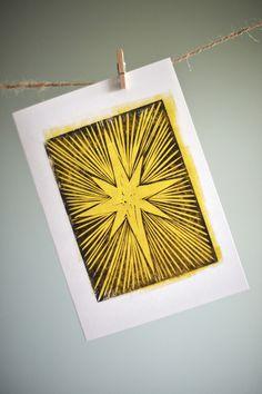 Christmas Star from original linocut