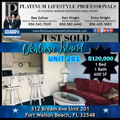 Another 1 bath condo 👉JUST SOLD 👈 at Sandy Pointe Condos on Okaloosa Island, FL! This property is 🔥 HOT🔥 since it allows short term and long term rentals on Okaloosa Island! Give us a call to see these units today!