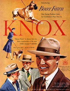 Knox Hats Boxer Fawn DOGS New Spring Fashion Color 1950 Magazine Ad