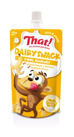 Dairy Snack banana - packed with the goodness of Aussie milk. In a squeezy on-the-go pouch, a perfect kids lunchbox idea Yogurt Packaging, Dairy Packaging, Kids Packaging, Juice Packaging, Food Packaging Design, Honey Jar Labels, Cafe Menu Design, Kids Yogurt, Biscuits Packaging