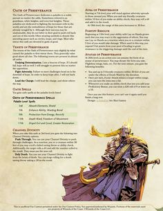 [Subclass] Paladin Oath - Oath of Perseverance. For Paladins that don't give up. Be it death or ability checks. Dungeons And Dragons Rules, Dungeons And Dragons Homebrew, Dnd Characters, Fantasy Characters, Lifeguard Halloween Costume, Dnd Paladin, Dnd Classes, Dnd 5e Homebrew, Environment Concept Art