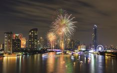 Download wallpapers Bangkok, Thailand, skyscrapers, fireworks, holiday, bay
