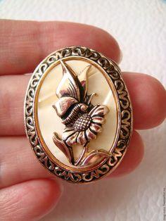 Купить Зажим Брошь для платка Цветок Бабочка Западная Европа 1970-е - купить брошь