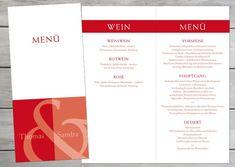 Menükarten: Namen in Rot   Etsy Din Lang, Save The Date Karten, Etsy, Red Wine, Invitation Cards, Names, Invitations, Wedding