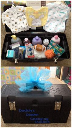 Just made this for a co-worker. Great idea for the daddy as a baby shower gift. … Just made this for a co-worker. Great idea for the daddy as a baby shower gift. Tool box doubles as a gift basket and can be very useful afterward also. Baby Shower Gift Basket, Baby Shower Gifts For Boys, Baby Shower Games, Baby Shower Parties, Bebe Shower, Baby Boy Shower, Baby Showers Juegos, Diy Baby Gifts, New Baby Products