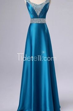 A-line Stretch Satin V-neck Long Evening Dresses Ruched Sash Peacock Blue