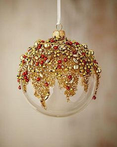 Gold & Glitter Collection Clear/Golden/Red Ornament by Silverado at Horchow. Elegant Christmas Trees, Christmas Holidays, Christmas Bulbs, Christmas Crafts, Christmas Makeup, Simple Christmas, Clear Ornaments, Painted Christmas Ornaments, Decoration Table