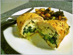 Arugula & Goat Cheese Stuffed Chicken Breasts w/ Roasted Broccoli & Potatoes