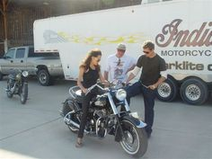 Angelina Jolie checks out an Indian motorcycle