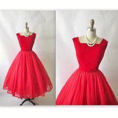 Vintage 1950s Red Velvet Chiffon Cocktail Party ...