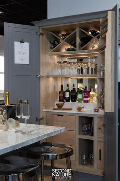 Find kitchen ideas and inspiration at our Northern Design Centre, like this DIY home gin bar in our Clarendon range- perfect for parties, storage and bringing a feeling of luxury to your kitchen. Home Bar Rooms, Home Bar Areas, Diy Home Bar, Home Bar Cabinet, Drinks Cabinet, Bar Cabinets For Home, Cabinet Ideas, Kitchen Interior, Kitchen Design