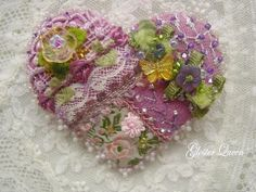 Crazy quilt pin with vintage trims by GlosterQueen on Etsy, $37.00