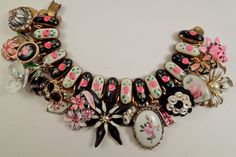 Rosey Posey Repurposed Vintage Jewelry Charm Bracelet One of a kind OOAK