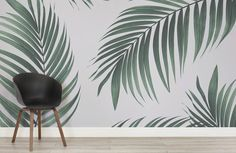 Create a cool minimalist style that's bang on trend with this fresh tropical palm leaves wallpaper, a contemporary mural. Paradis Tropical, Minimalist Living, Minimalist Style, Palm Leaf Wallpaper, Tropical Bathroom, Faux Plants, Custom Wallpaper, Tropical Paradise, Coastal Decor