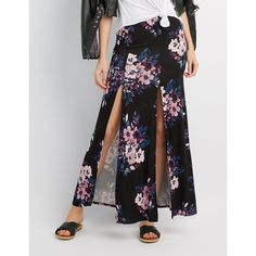 Charlotte Russe Floral Double Slit Maxi Skirt ($15) ❤ liked on Polyvore featuring skirts, black multi, long slit skirt, high-waisted skirts, high waisted double slits maxi skirt, high waisted floral maxi skirt and floral maxi skirt