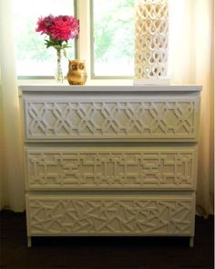 overlays at danikacheryle.com  What a great idea to dress up drab furniture